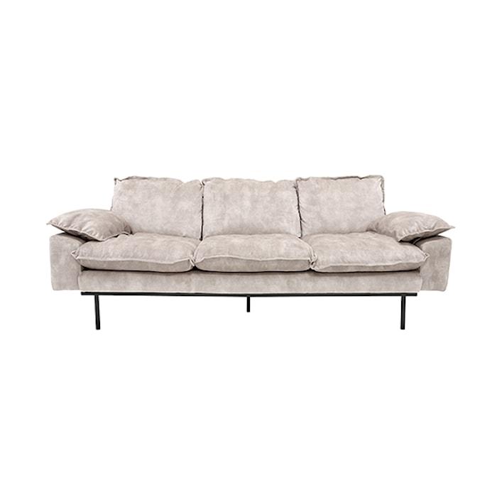Retro Sofa Fløjl 3-pers Cream Hvid