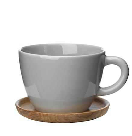 Höganäs Keraaminen Teekuppi + puualusta 50 cl, Harmaa