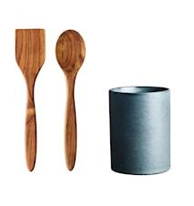 Raw Utensiliendose mit Pfannenwender + Topflöffel Teak Northern Green H15XD10cm 1 Set