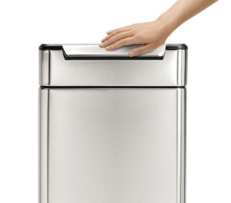 Rektangulär Touch-bar-tunna 40 liter Borstat Stål
