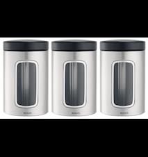 Opbevaringsbeholder med vindue 1.4 Ltr x 3 Matt Steel / F.P.P.