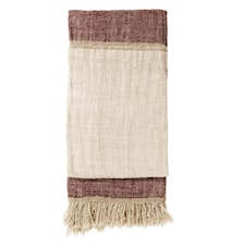 Sengeteppe Linen Fringes - Burgundy/rose