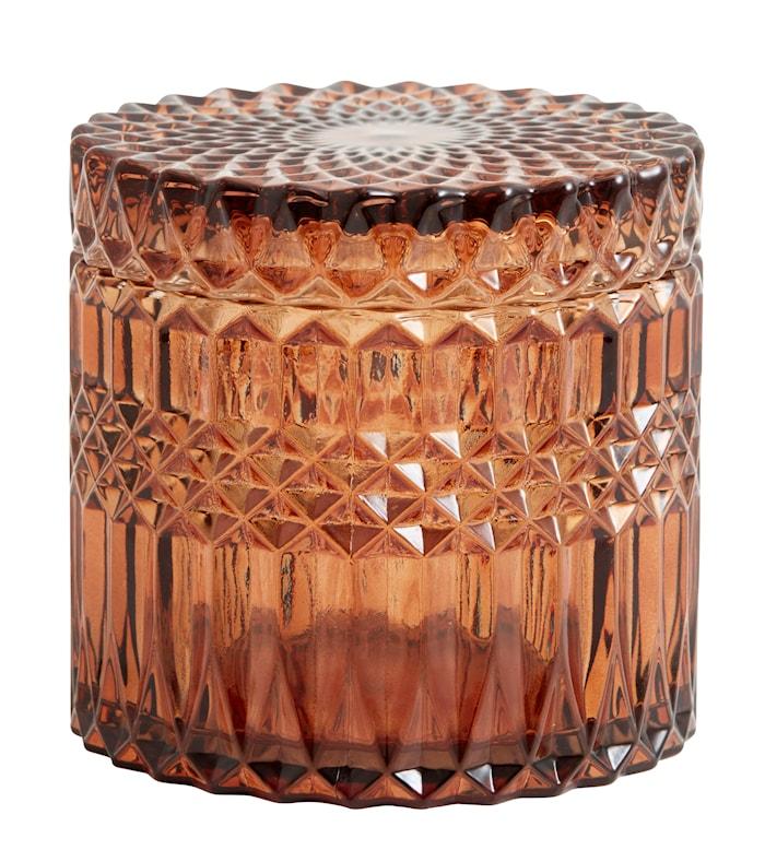 Welly Glasskrukke med lokk Amber L