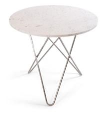 O Table Matbord Rostfritt Stål/Vit Marmor Ø80