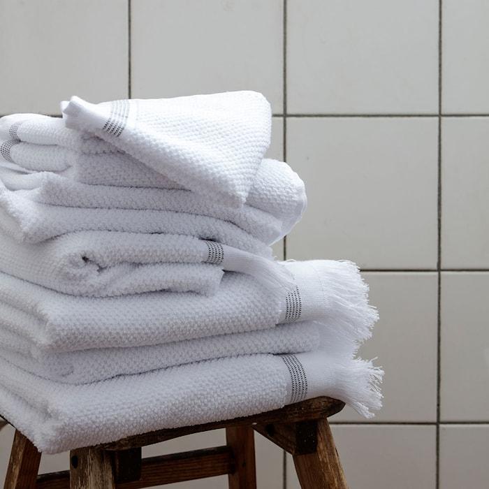 Wash Cloth Vit Med  Grå Ränder 2-pack 30x30 Cm