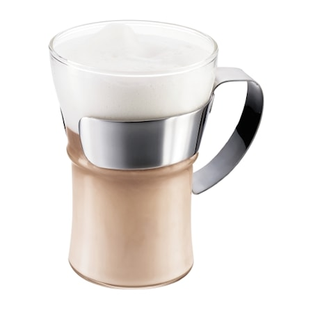 Assam Kaffeglas handtag i krom 35 cl 2 st