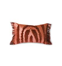 Fringed Velvet Tiger Tyyny Red 25 x 40 cm