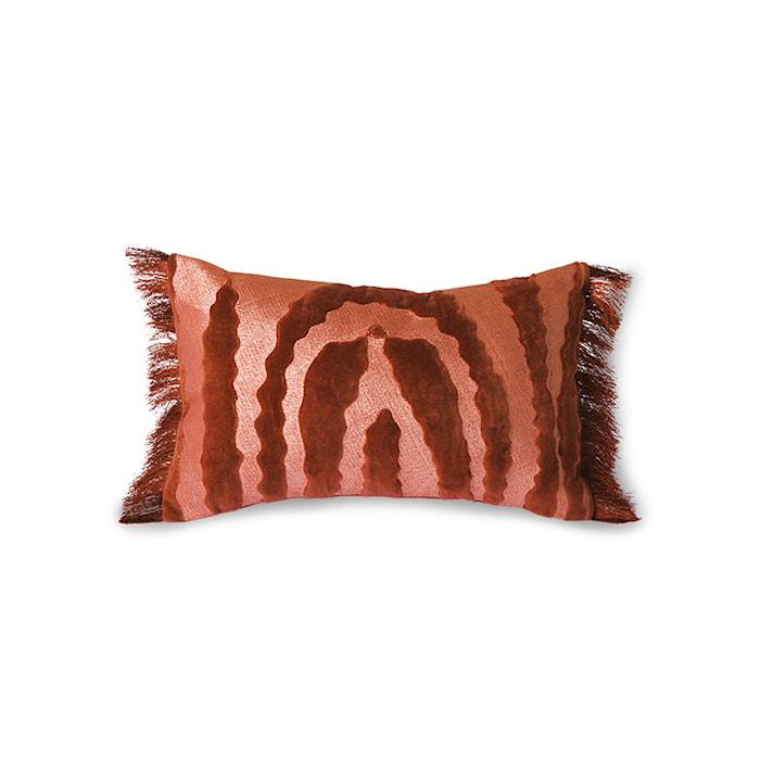 Fringed Velvet Tiger Pute Red 25x40 cm