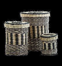 Korgar med Lock Bambu Svart/Natur set om 3