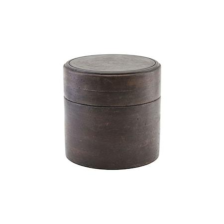 Förvaringslåda med Lock Mörkbrun Ø18 cm