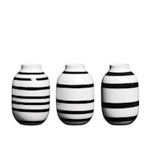 Omaggio vase miniatyr 3-pakk Svart H 8 cm