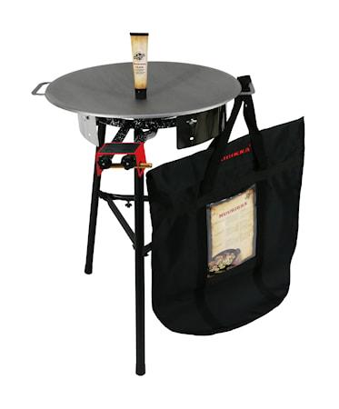 Sæt med gasbrænder, beskyttelsespose, stegefedt og bageplade på 58 cm