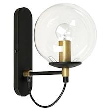 Perla 1 Vägglampa Glas/Mässing/Svart