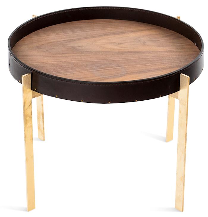 Single deck sofabord - Messing/mocka, valnøtt