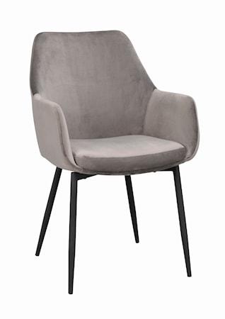 Reily karmstol grå sammet/svarta metall ben