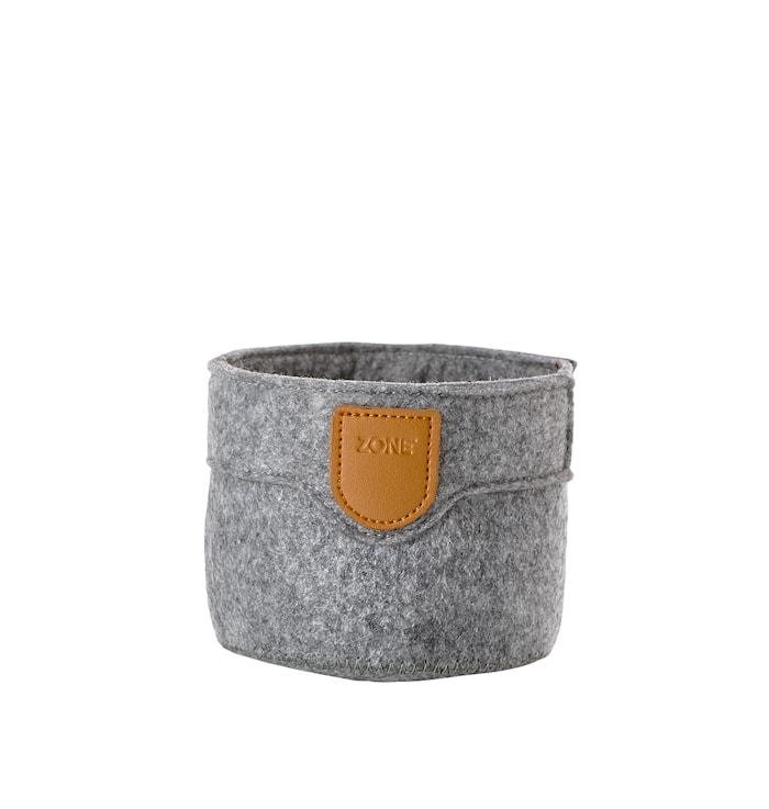 Kurv - Grey - Stk. - Craft - Filt - PU - D 10,0cm - H 8,0cm - Hangtag