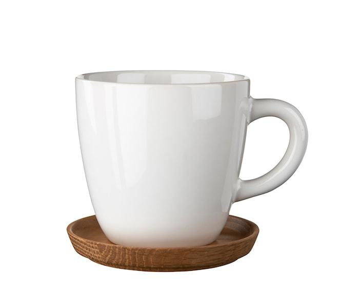 HK Kaffekopp 33 cl hvit blank med trefat