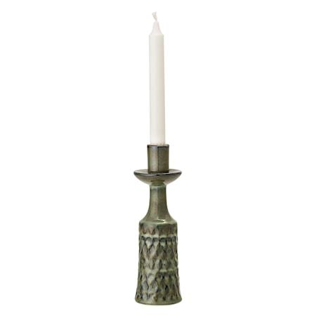 Lysestage, grøn, Stoneware