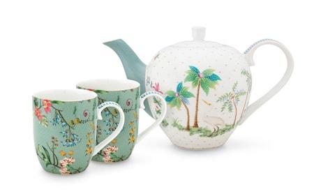Jolie Set/3 Tea Set Small Flowers Blå
