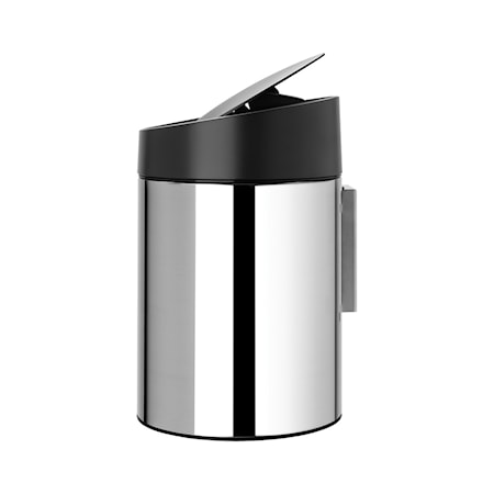 Slide Bin med sort plastlåg, plastinderspand (Kan monteres på væggen) 5 L Blankbørstet Stål