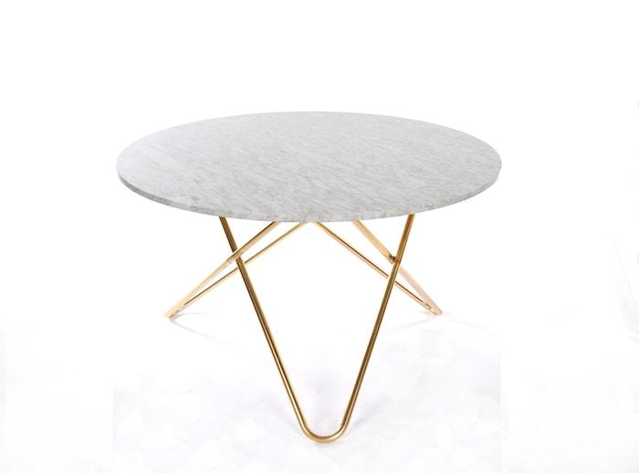 Big O Spisebord Messing/Hvid Marmor Ø120 cm