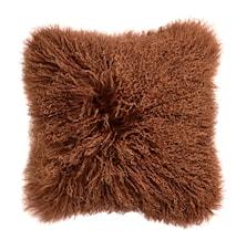 Tyynynpäällinen Lampaannahkaa 40x40 cm - Ruskea