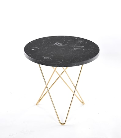 Mini O Table Svart Marmor med Mässingram Ø40