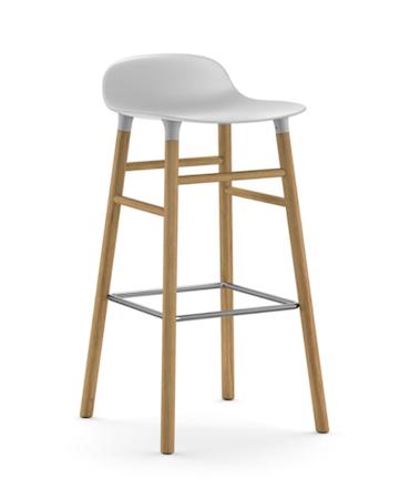 Form Barstol Vit/Ek 75 cm