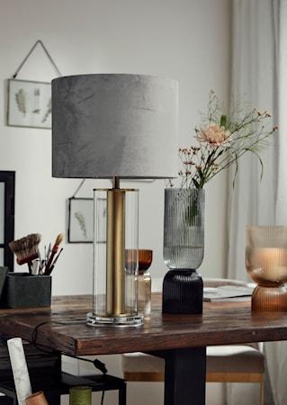 Lampfot Klart Glas med Guld Detaljer