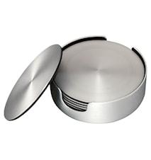 Lasinalunen 6 pakkaus harjattu alumiini, halkaisija 9,2 cm