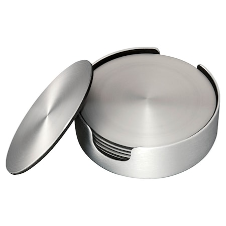 Glassunderlag 6 pakning børstet aluminium diameter 9,2 cm