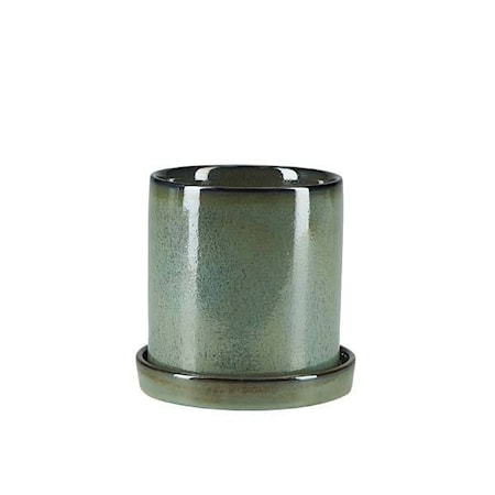 Kruka Med Fat Grön 14 cm