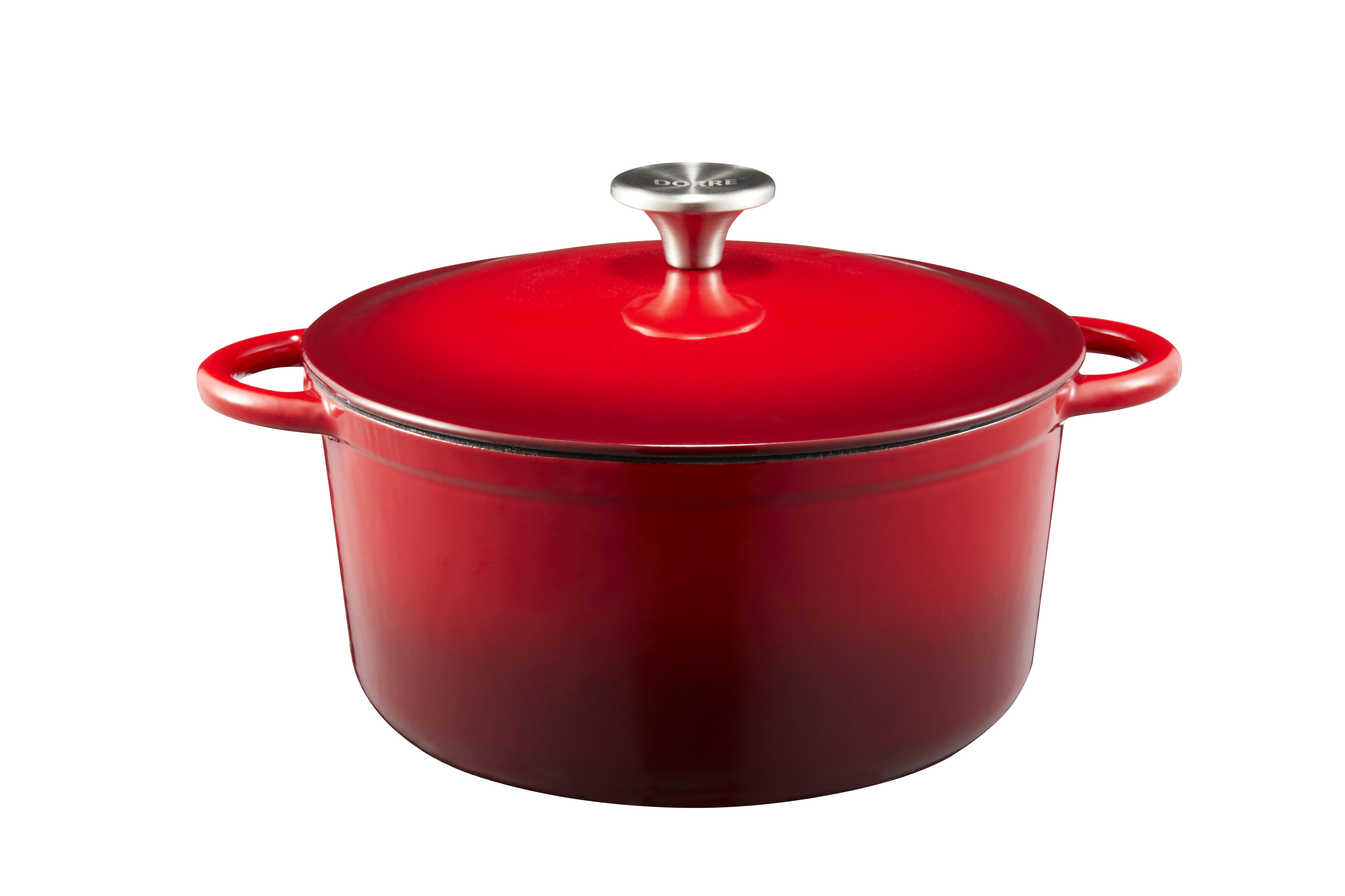 Gretl Gjutjärnsgryta rund röd emalj knopp rostrfritt stål 4 liter