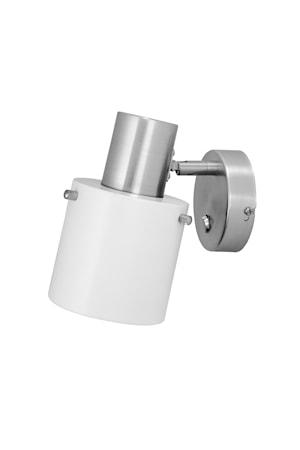 Vägglampa Clark 1 Vit/Borstad Krom