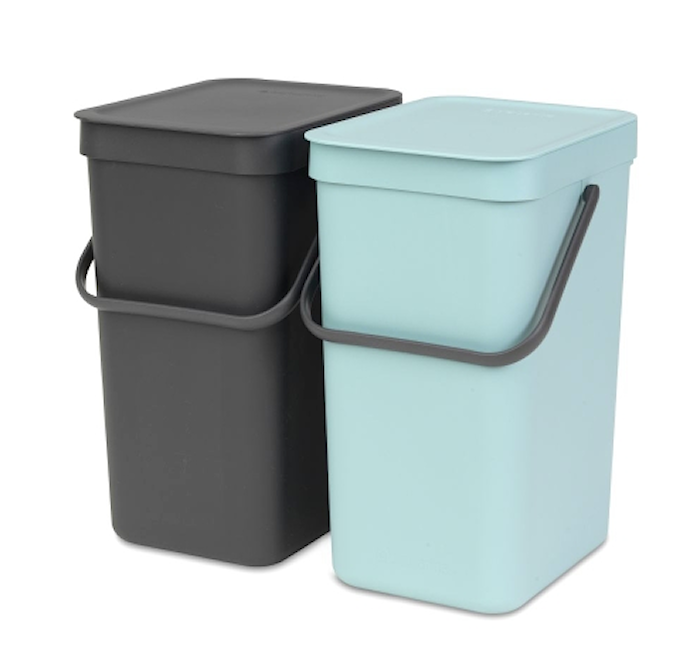 Mint / Anthracite Rubbish Bin 'Sort & Go' 2 x 12 L