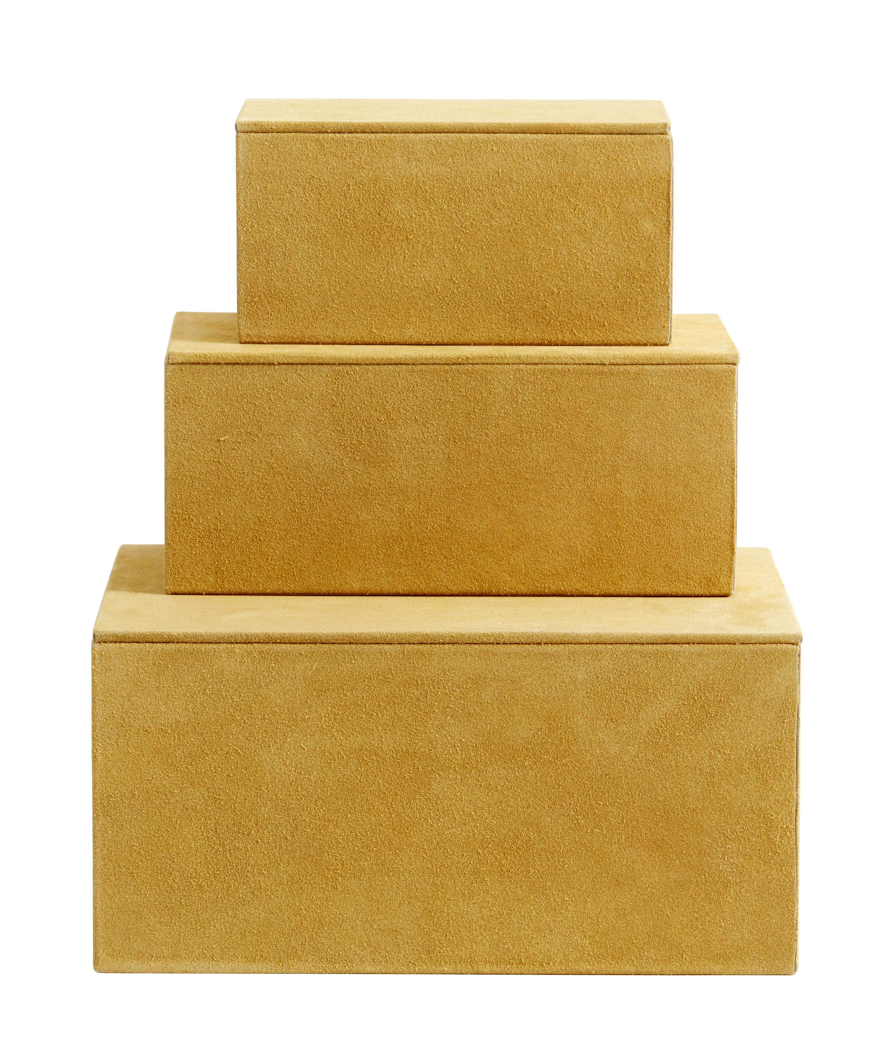 Box Mocka Läder Gul Set av 3