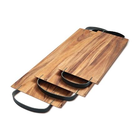 Ironwood Gourmet serveringsbricka med läderhandtag 42 cm