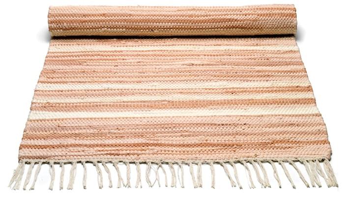 Cotton matta - Pale pink/offwhite striped, 140x200