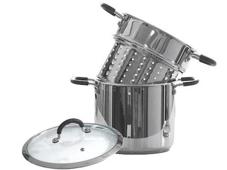 Gryte 6 liter, med pastainnsats og silikonkledde håndtak