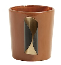 Portacandele in vetro e metallo dorato, terracotta