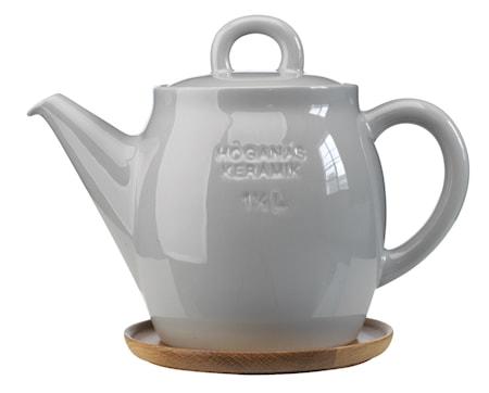 Höganäs Keramikk Tekanne + trefat 1,5 L grå blank