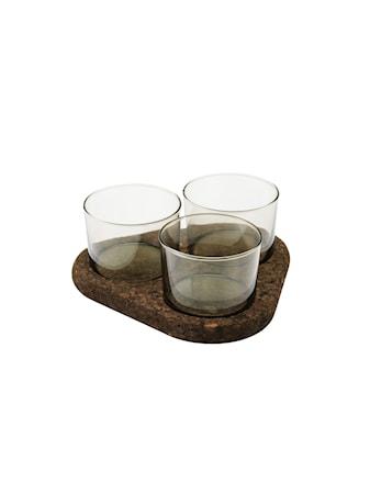 Raw 4-Dels Sæt 3 Glas Skåle På Korkcoasters D 8,2 x H 5,8 cm