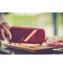 Mandolin med keramiskt blad, ställbar, röd