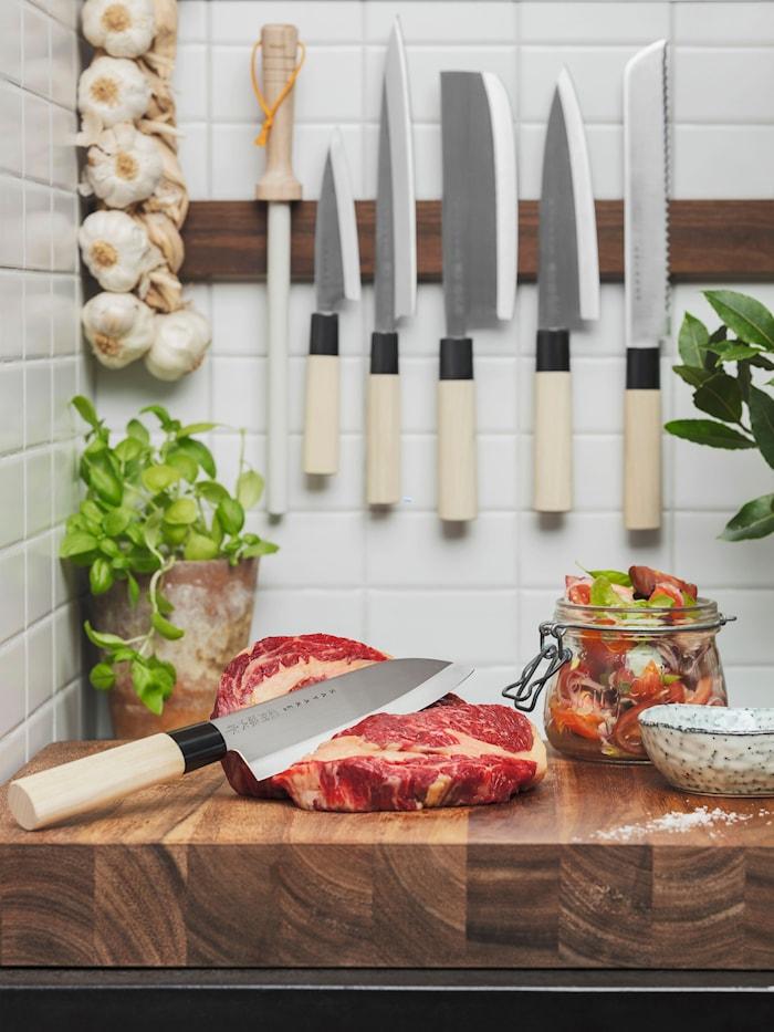 Knivsæt grøntsagshakker & santoku i balsaboks