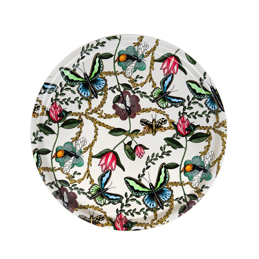 Nadja Wedin Design Bricka 46 cm Bugs & Butterflies Offwhite