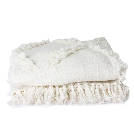 White Fringe Överkast 270x270 cm