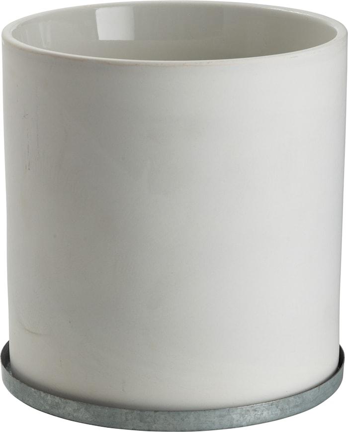 Kruka med zinkfat 19 cm - Vit