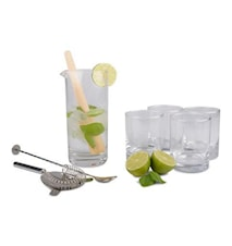 Form Living Mojitosett Glass/tre/metall 18,5x8,5 cm Transparent