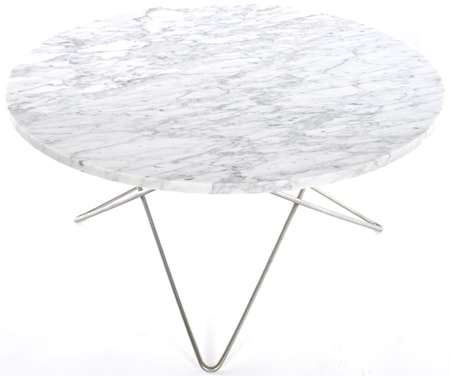 OX DENMARQ Large O table - Vit marmor, stålunderrede