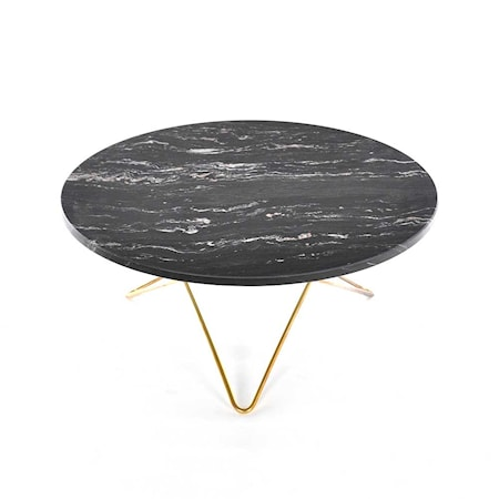 O Table Svart Marmor med Mässingram Ø80